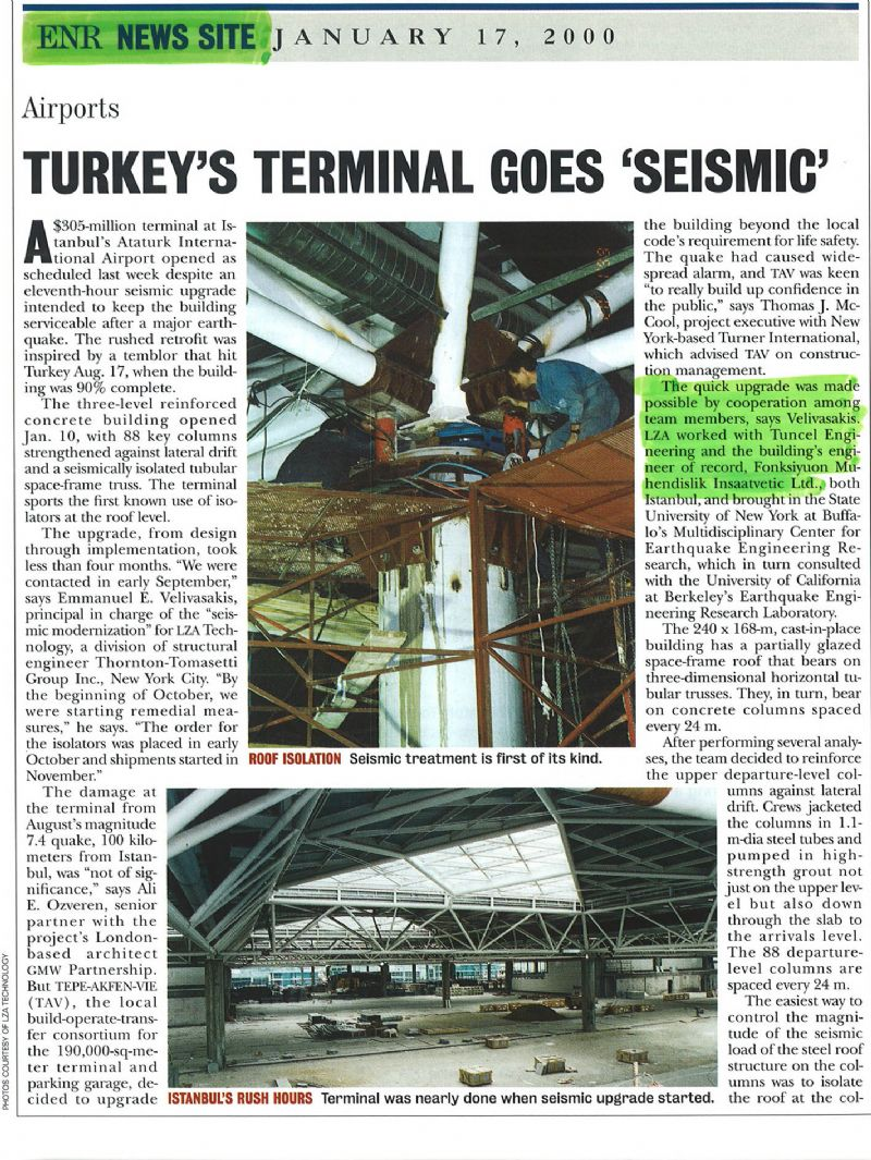 RETROFIT PROJECTS  SYSMIC MODERNISATION OF ATATURK INTERNATIONAL AIRPORT  350.000  m2